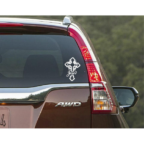 "Jesus Christ,""Jesus Christ"" Cross Car Window Decal"