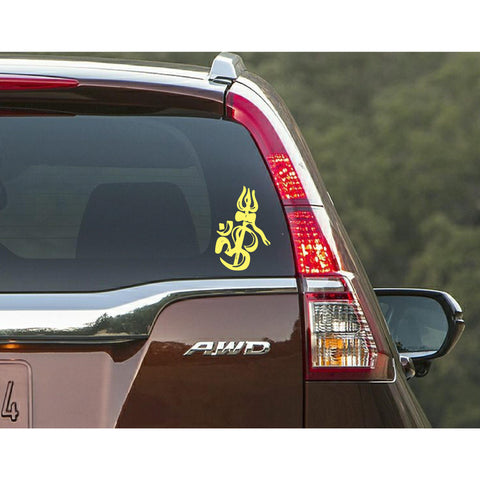 """Ohm With Trishul"" Car Window Decal"