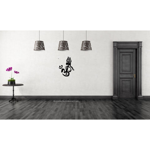 Ohm with Trishul  W,Ohm with Trishul  W Sticker,Ohm with Trishul  W Wall Sticker,Ohm with Trishul  W Wall Decal,Ohm with Trishul  W Decal