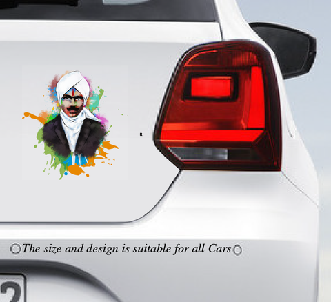 Legendary Bharathiyar Multi Colour Car Vinyl sticker