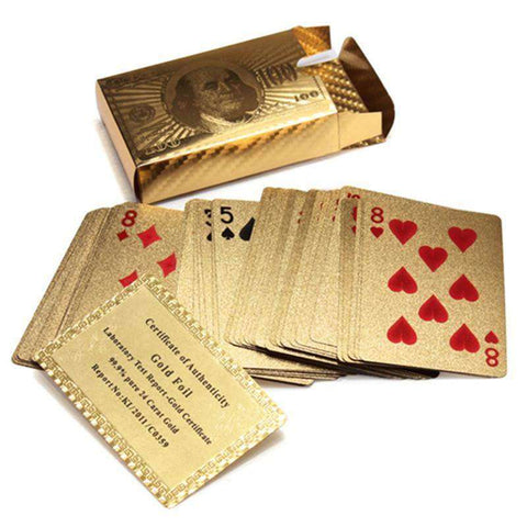 24K Certified Gold Foil Plated Poker Game Playing Cards:Hobbies Unleashed