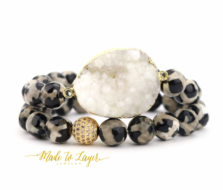 Libby - Pave Druzy Bracelet Set - Made to Layer