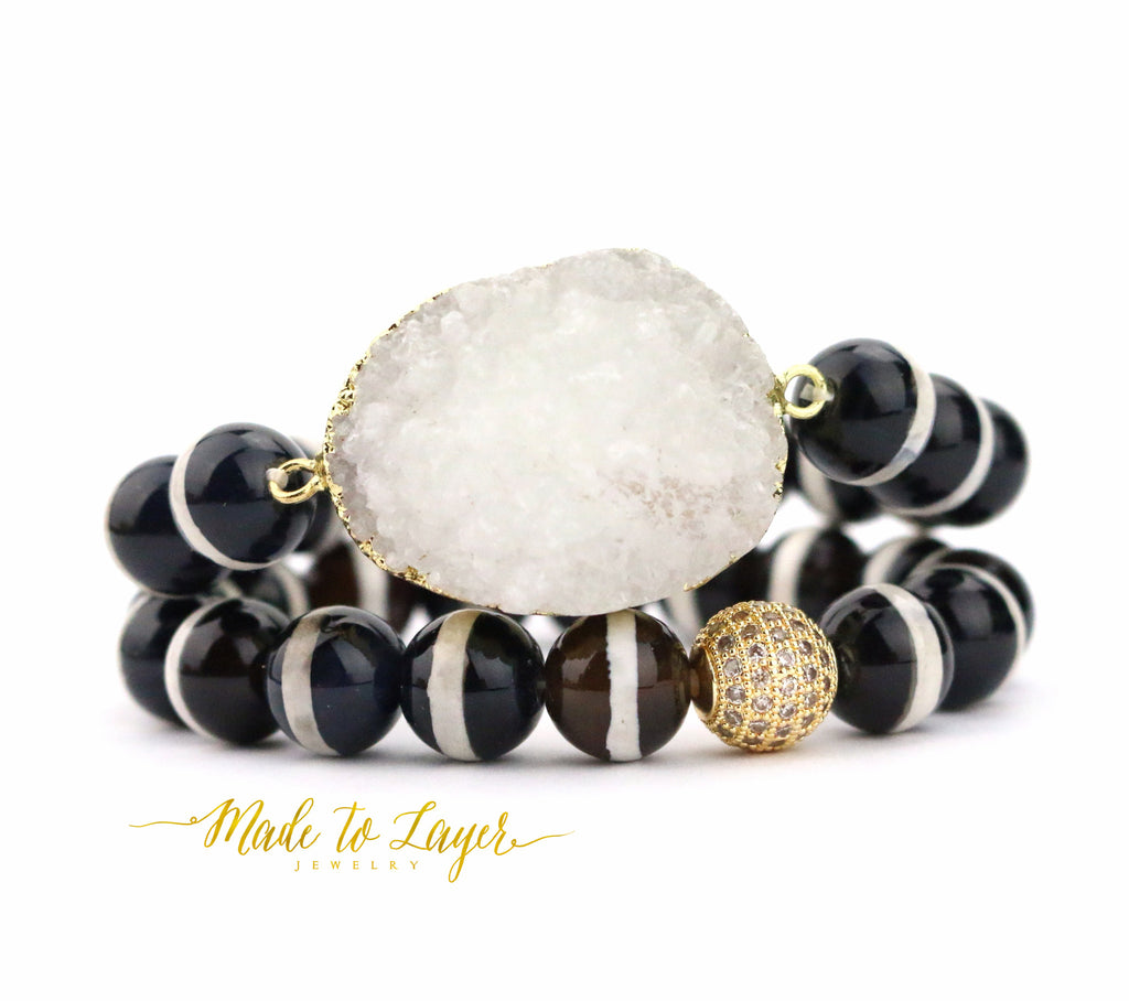 Stripe Agate Druzy Bracelet - Made to Layer