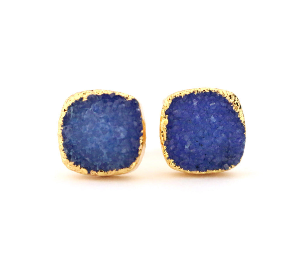 Blue Cushion Druzy Stud Earrings - Made to Layer