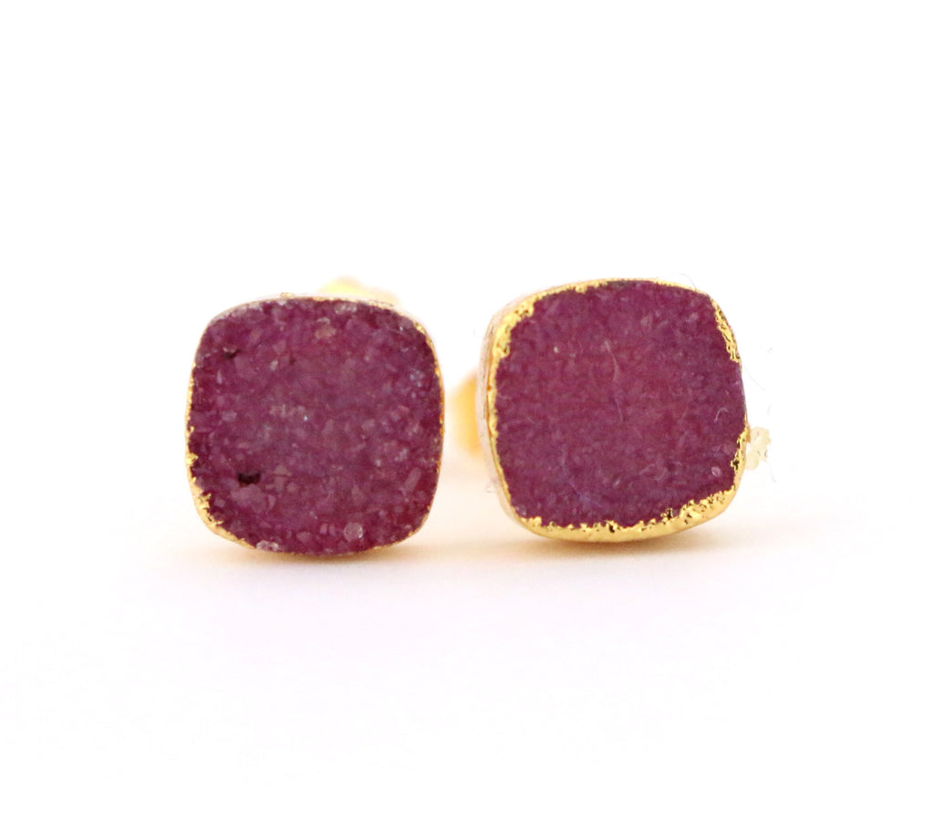 Maroon Cushion Druzy Studs - Made to Layer