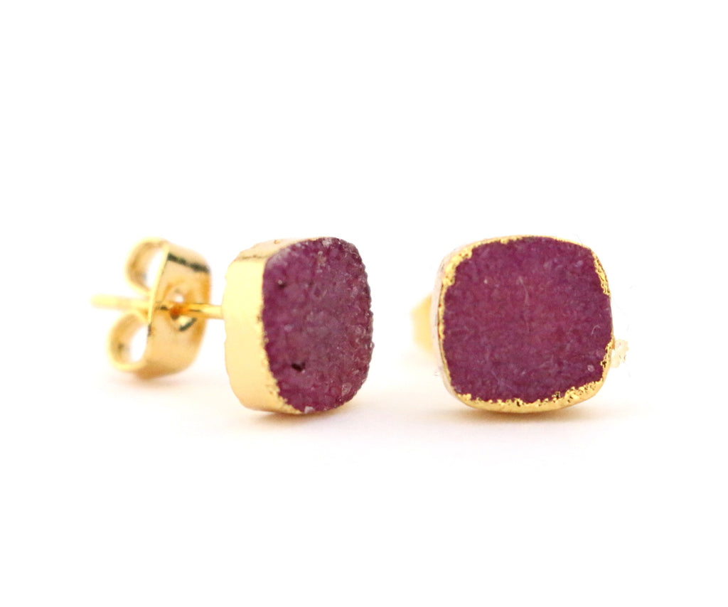 Maroon Cushion Druzy Stud Earrings - Made to Layer