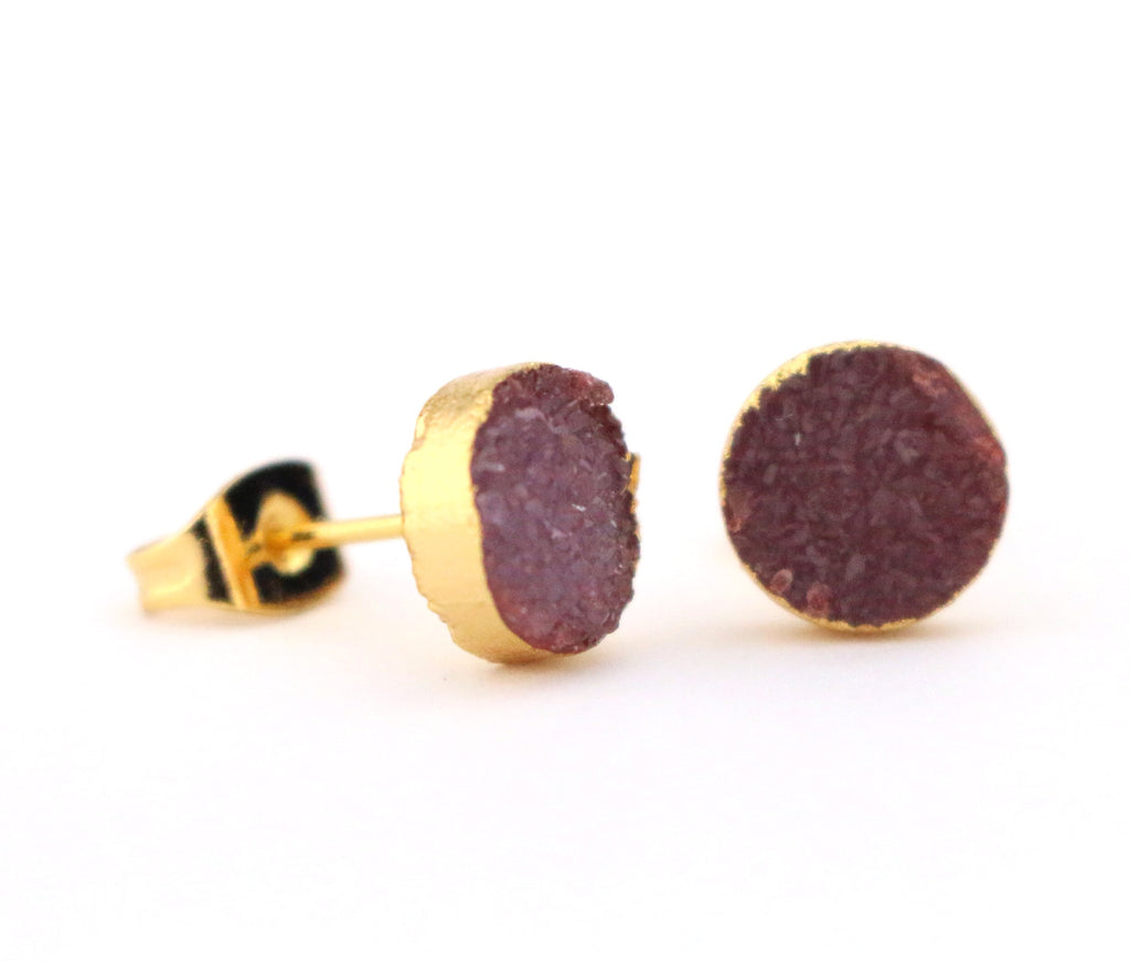 Maroon Round Studs - Made to Layer