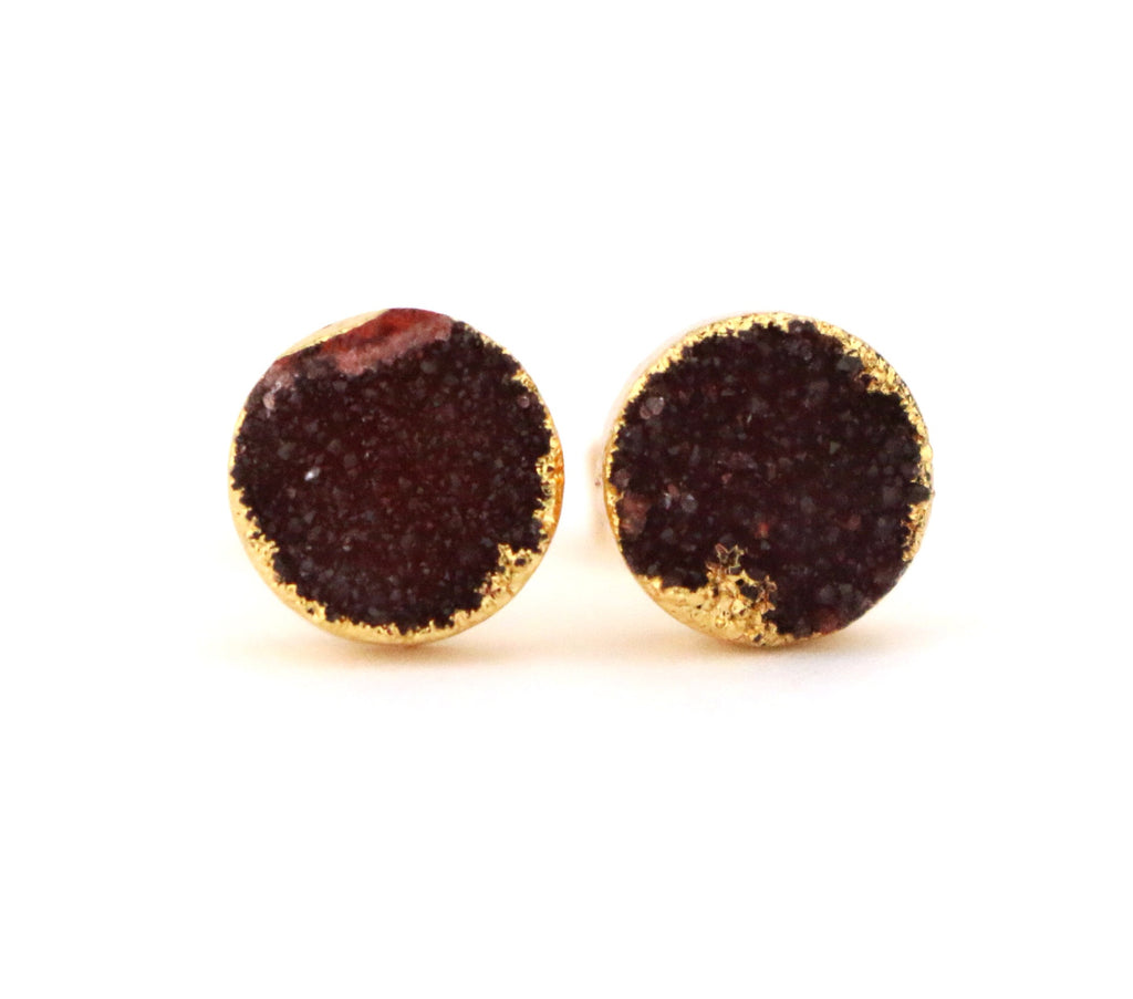 Maroon Round Stud Earrings - Made to Layer