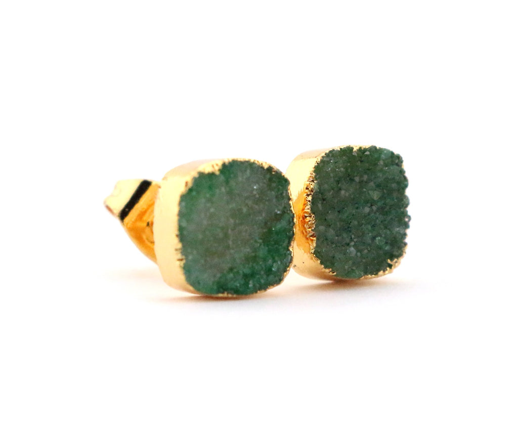 Green Cushion Druzy Stud Earrings - Made to Layer