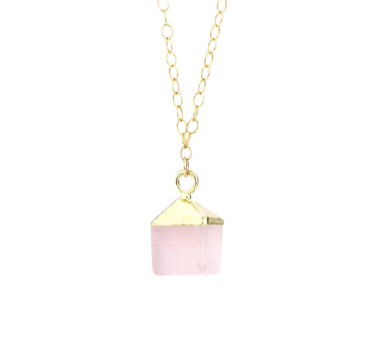 Tiny Cube Rose Quartz Necklace - Made to Layer