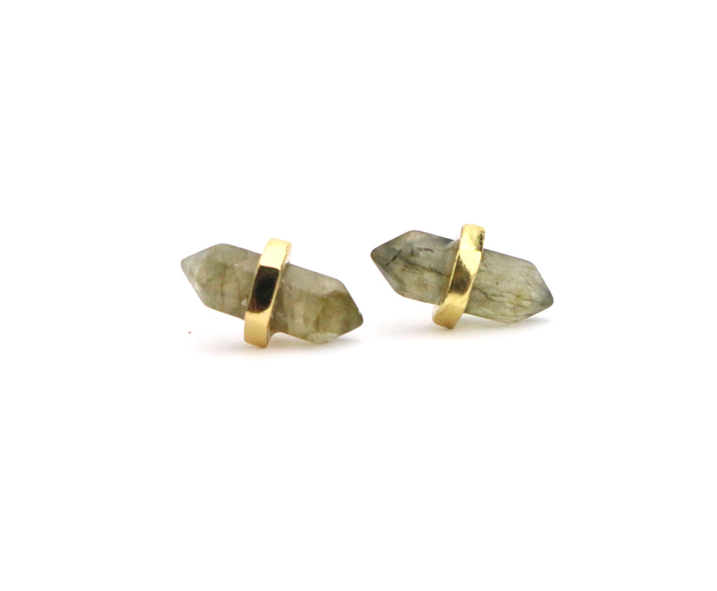 Point Labradorite Studs - Made to Layer