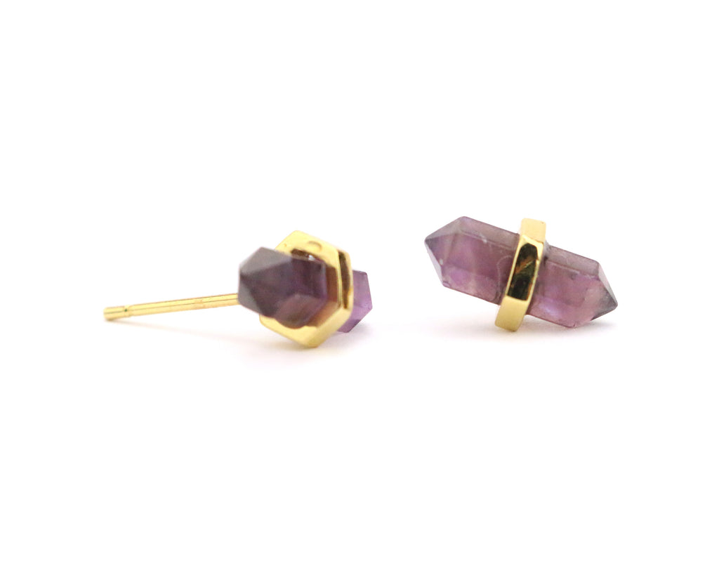 Point Amethyst Studs - Made to Layer