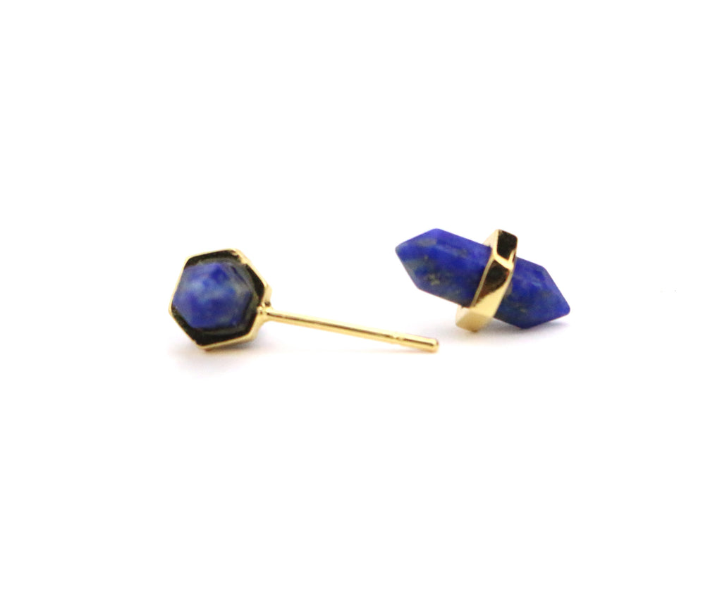 Point Lapis Lazuli Studs - Made to Layer