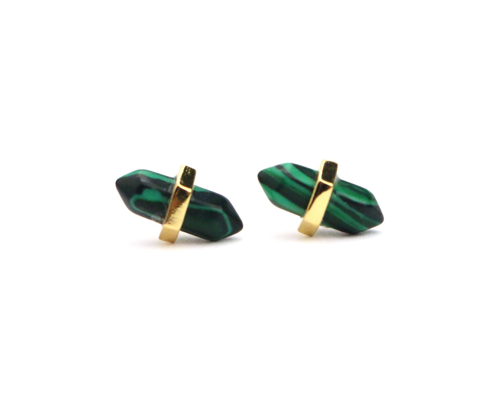 Point Malachite Studs - Made to Layer