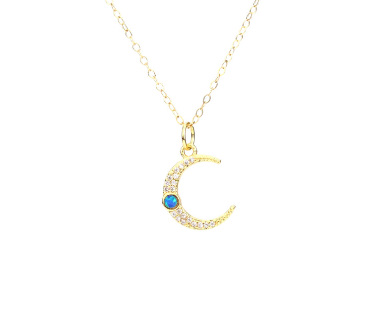 Opal Moon Necklace