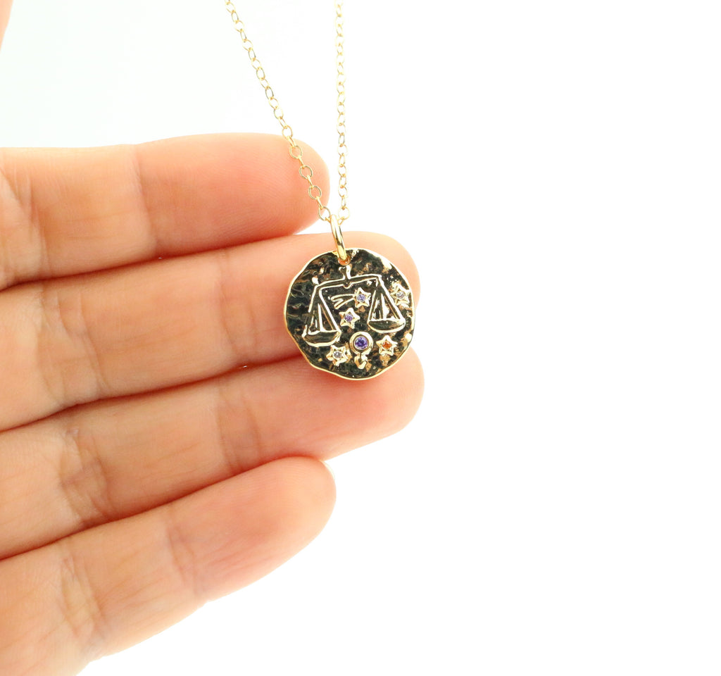 Libra Zodiac Coin Necklace - Made to Layer