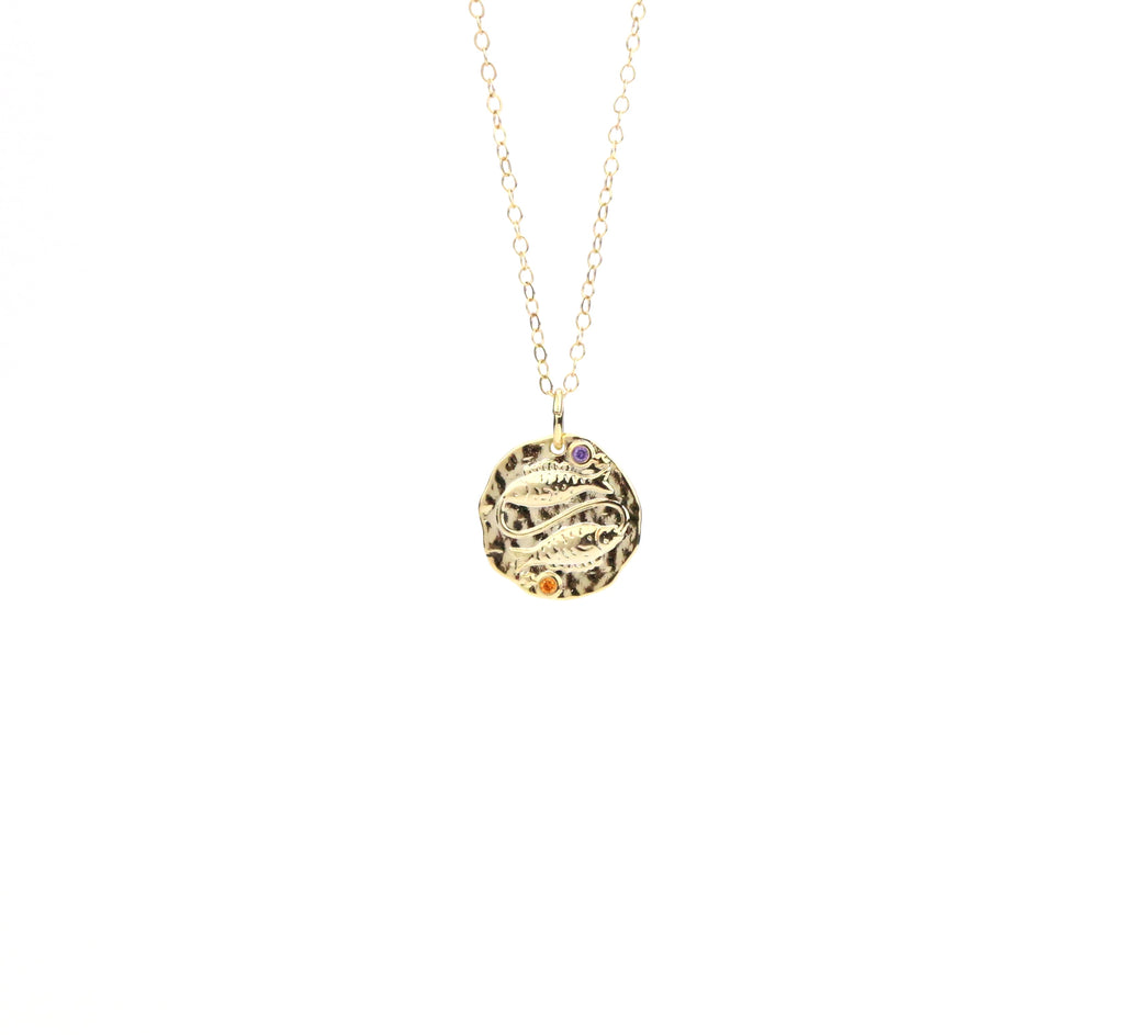 Pisces Zodiac Coin Necklace - Made to Layer
