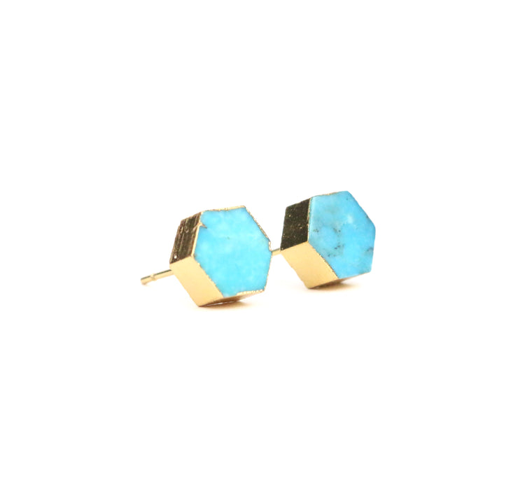 Turquoise Earrings - Hexagon