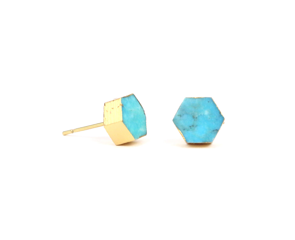 Turquoise Earrings - Hexagon - Made to Layer