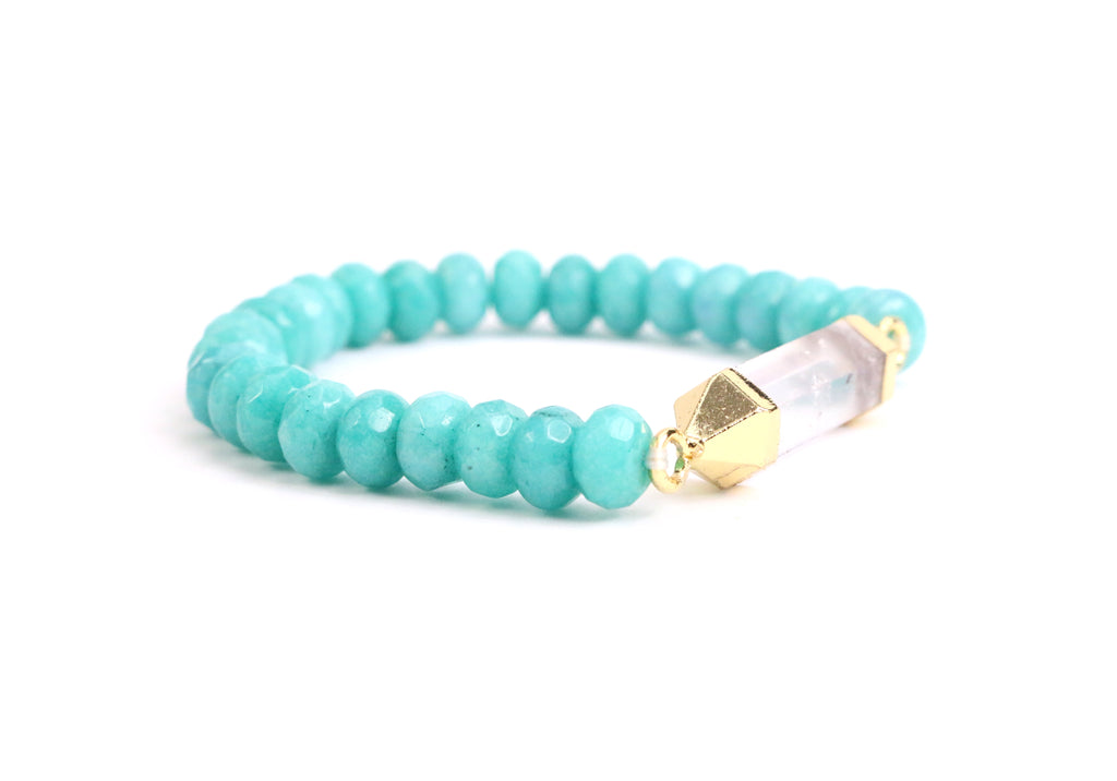 Clear Quartz Blue Jade Bracelet - Made to Layer