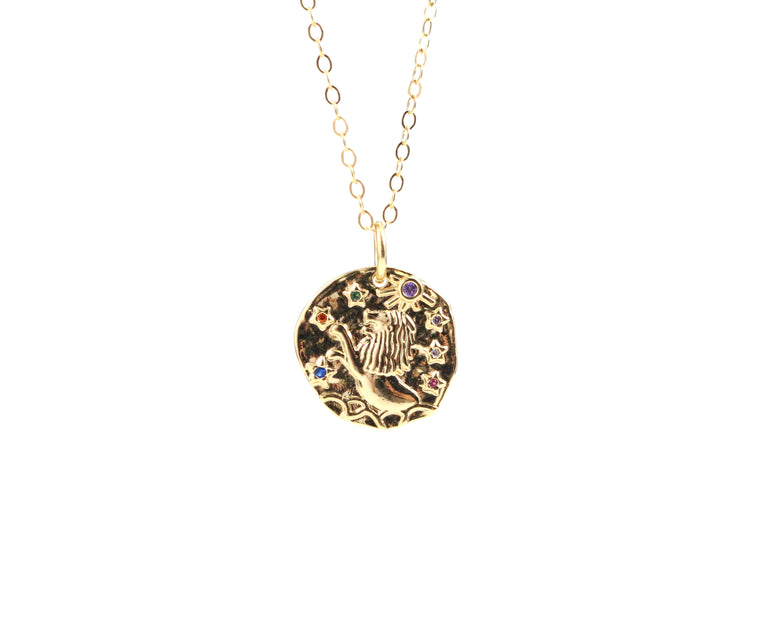 Leo Zodiac Coin Necklace - Made to Layer