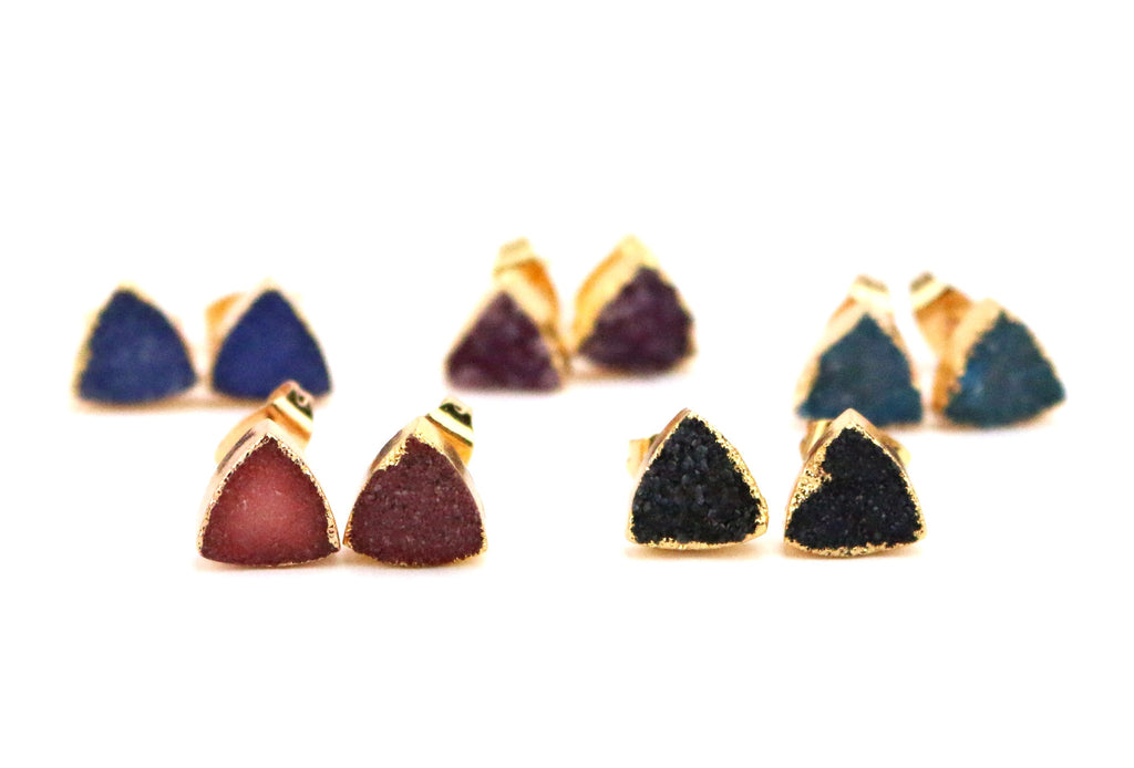 Lexi Triangle Druzy Stud Earrings - Made to Layer