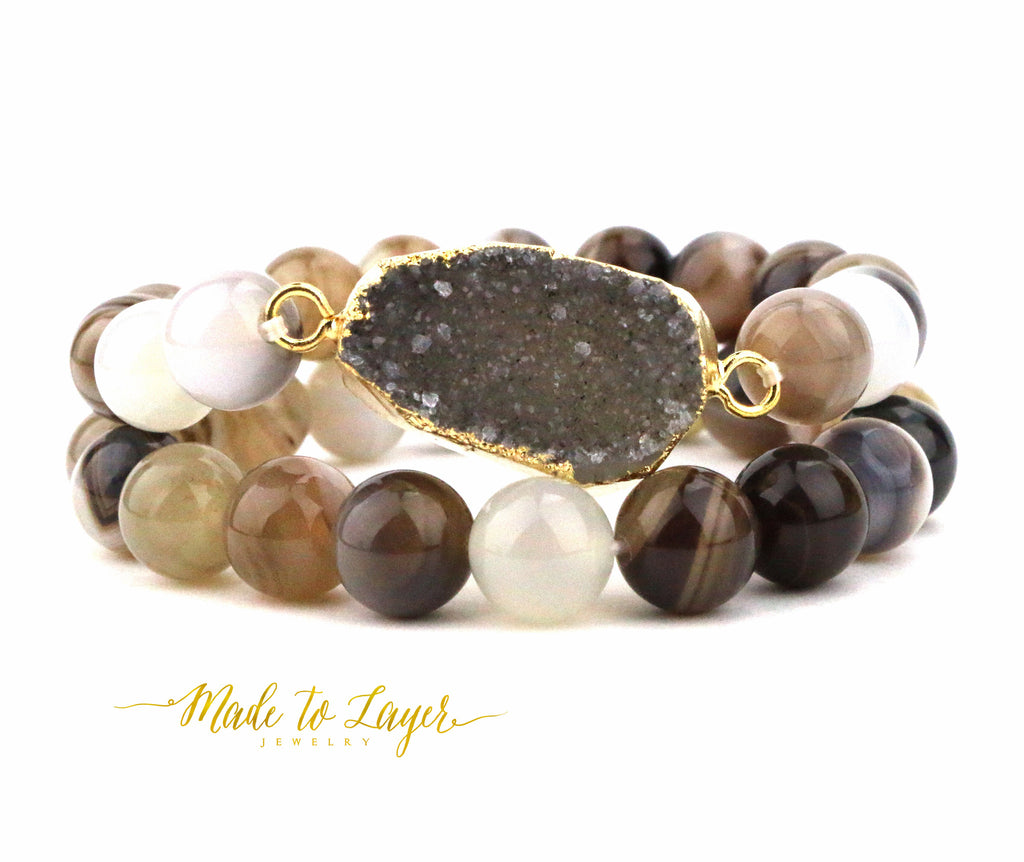 Neutral Agate Druzy Bracelet Set - Made to Layer