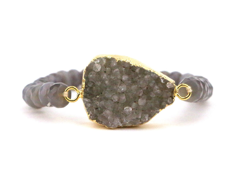 Grey Agate Druzy Bracelet - Made to Layer
