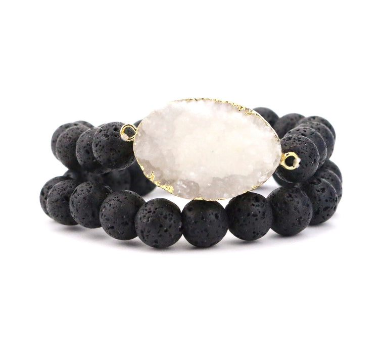 Lava Druzy Bracelet Set - Made to Layer