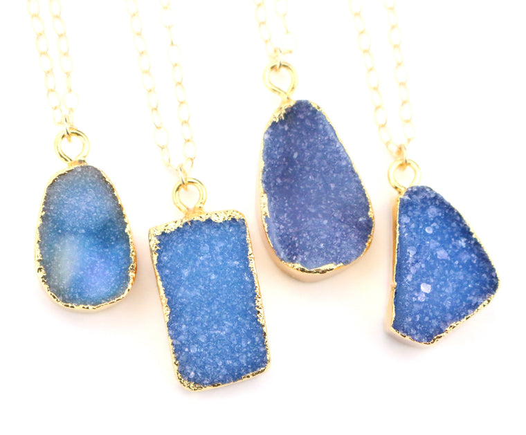 Blue Druzy Necklace - Made to Layer