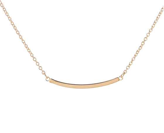 Curved Bar Dainty Necklace - Made to Layer