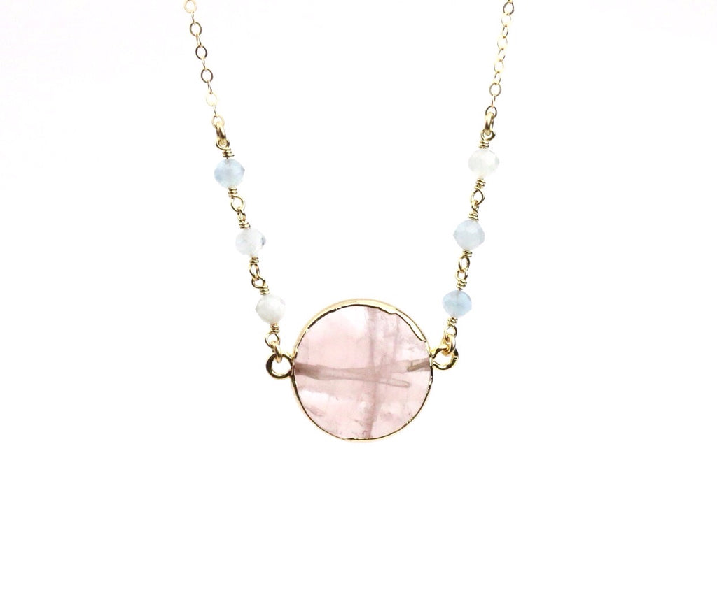 Rose Quartz Aquamarine Necklace - Made to Layer