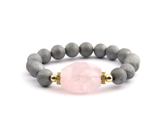 Rose Quartz Druzy Bracelet - Made to Layer