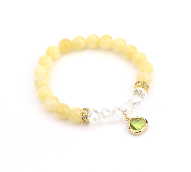 Yellow Lime Green Crystal Bracelet - Made to Layer