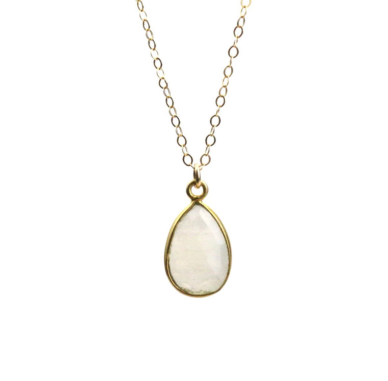 Moonstone Teardrop Necklace (June) - Made to Layer