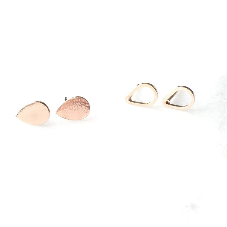 Tear Drop Dainty Stud Earrings Set - Made to Layer