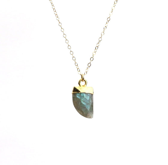 Labradorite Horn Necklace - Made to Layer