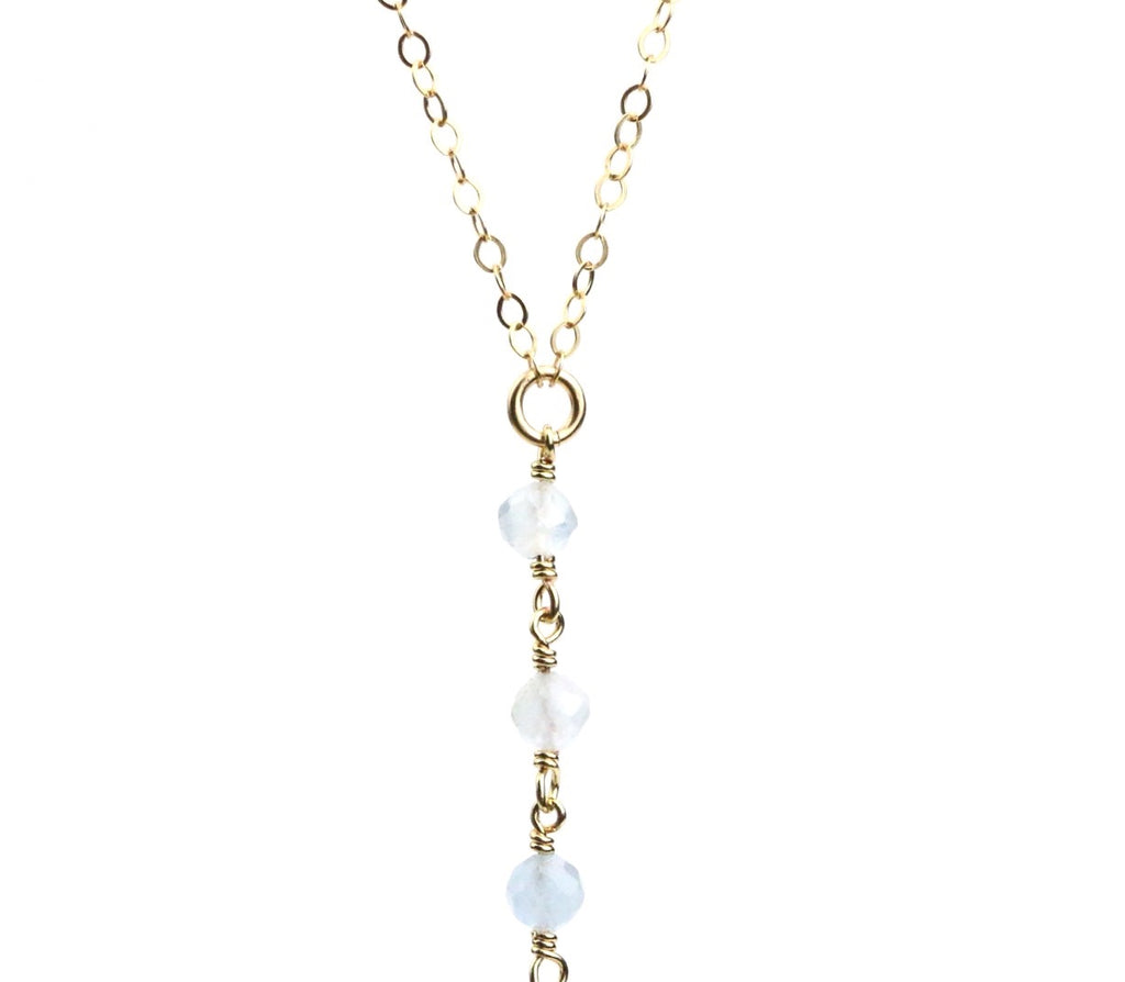 Moon Druzy Aquamarine Lariat Necklace - Made to Layer
