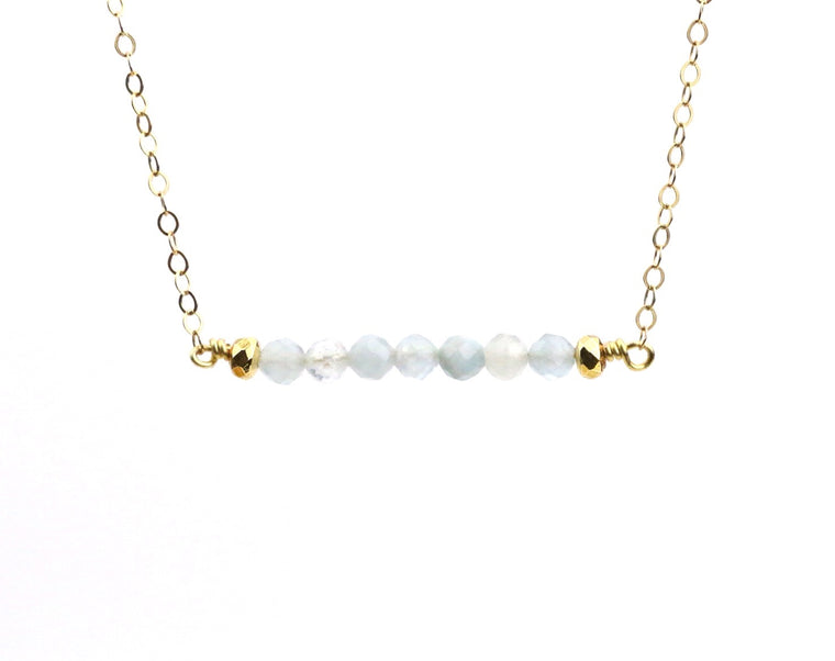Aquamarine Bar Necklace - Made to Layer