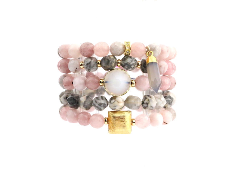 Breast Cancer Awareness Bracelet Set - Made to Layer