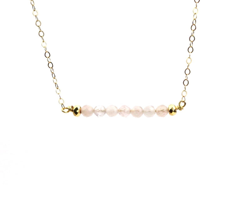 Morganite Bar Necklace - Made to Layer