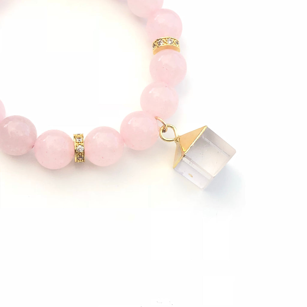 Clear Quartz Rose Quartz Bracelet - Made to Layer