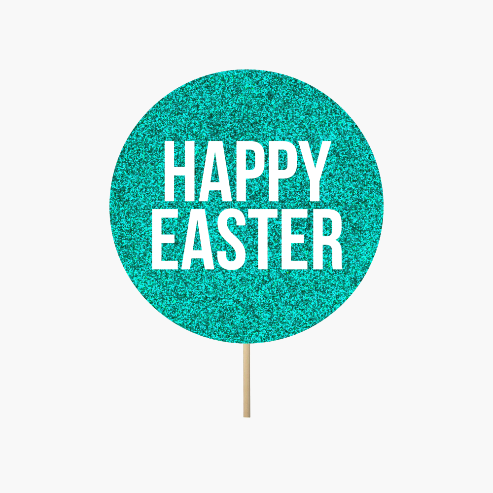 "Teal Circle ""Happy Easter"""