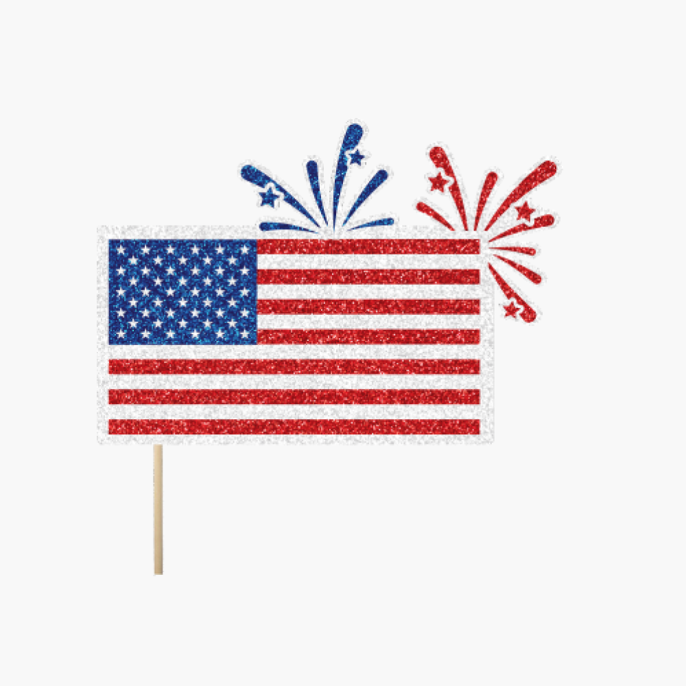United States of America Flag with Fireworks