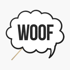 "Speech bubble ""Woof"""