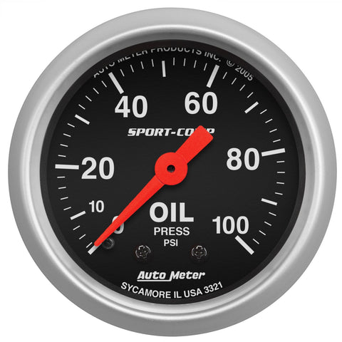 "2-1/16"" OIL PRESSURE, 0-100 PSI, MECHANICAL, SPORT-COMP"