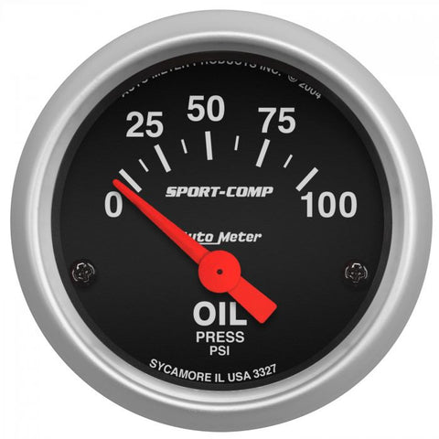 "2-1/16"" OIL PRESSURE, 0-100 PSI, AIR-CORE, SPORT-COMP"