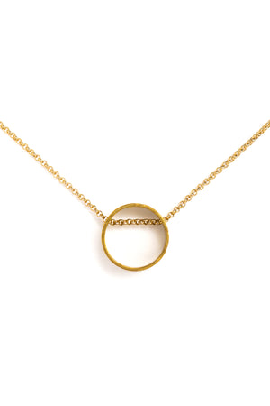 Floating Circle Necklace on Gold Chain