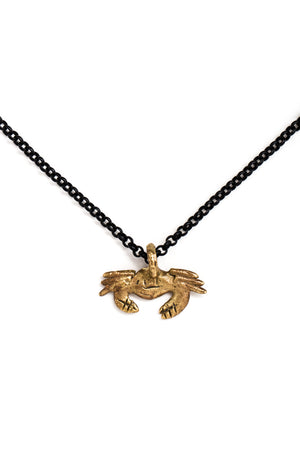 Brass Crab Charm Necklace
