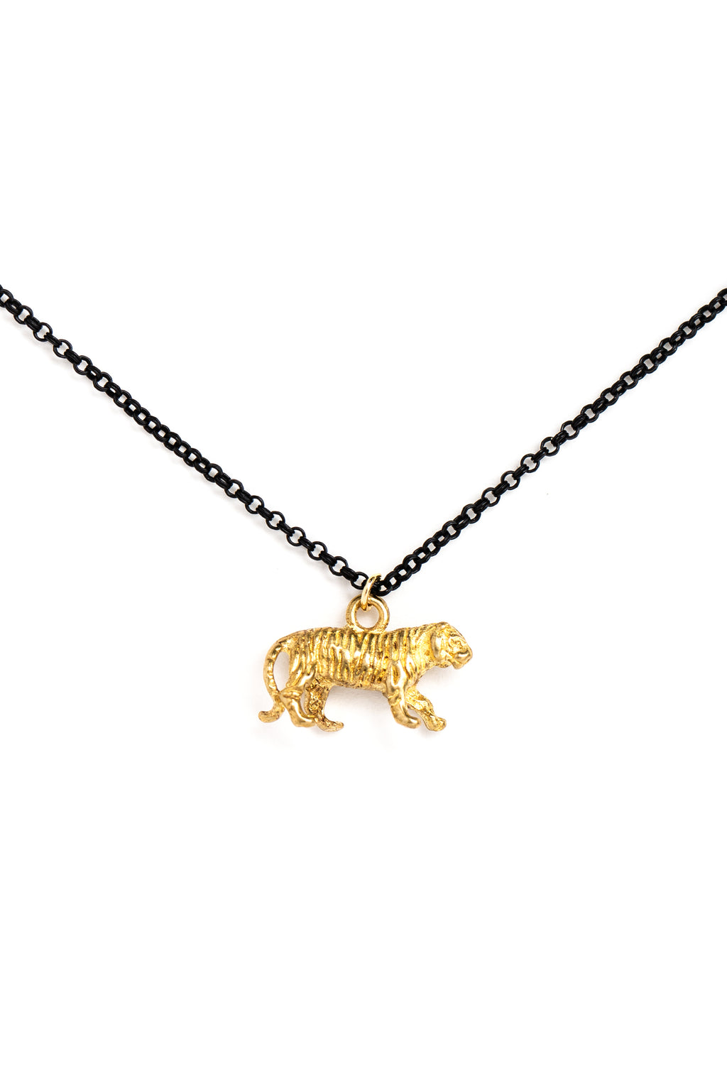 Brass Tiger Charm Necklace on Black Chain